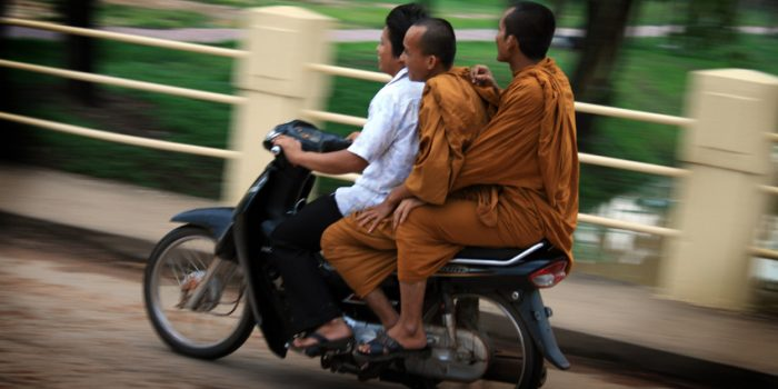 Buddhist Monks On A Motorbike In Siam Reap